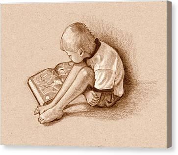 Boy Reading Book Sepia Drawing Canvas Print by Joyce Geleynse