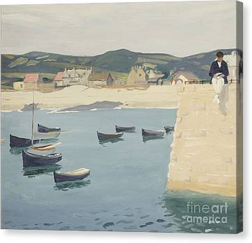 Boy Reading On A Harbour's Edge  Canvas Print by William Strang