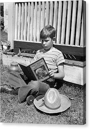 Boy Reading Outside, C.1940s Canvas Print by H. Armstrong Roberts/ClassicStock
