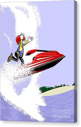 Male Canvas Print -  Boy Sailing With His Red Jet Ski In The Big Waves Of Hawaii by Daniel Ghioldi
