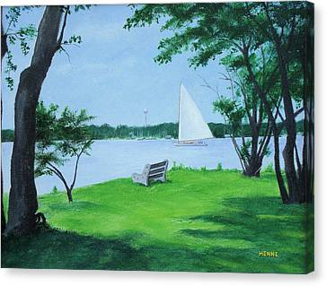 Boy Scout Island Canvas Print by Robert Henne
