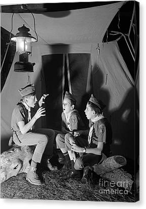 Boy Scouts Telling Ghost Stories Canvas Print by D. Corson/ClassicStock