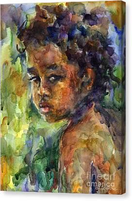 Boy Watercolor Portrait Canvas Print by Svetlana Novikova