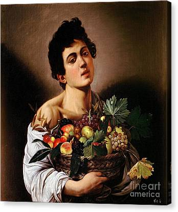 Boy With A Basket Of Fruit Canvas Print by Celestial Images