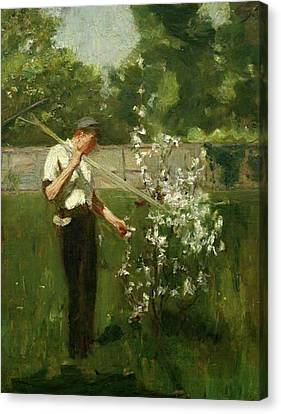 Canvas Print featuring the painting Boy With A Grass Rake by Henry Scott Tuke