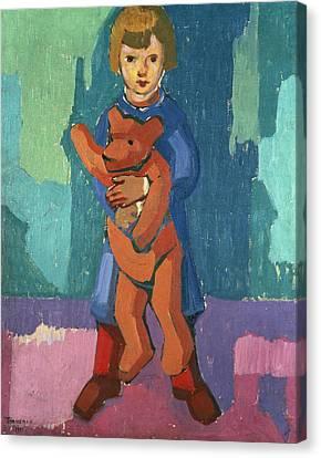 Boy With A Teddy Bear Canvas Print by Axel Torneman