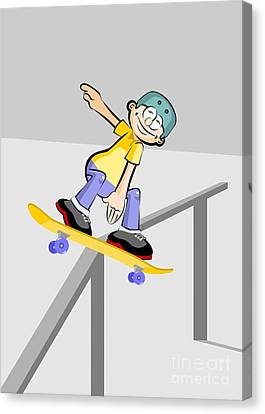 Skate Canvas Print - Boy With A Yellow Skateboard Slides Down The Railing Of The Park Ramp by Daniel Ghioldi