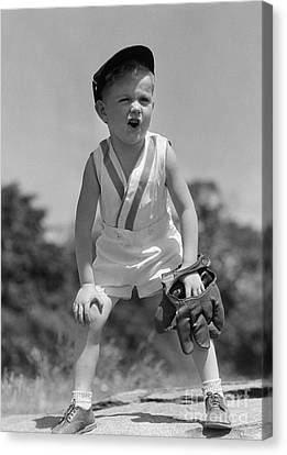 Boy With Baseball Cap And Mitt Yelling Canvas Print by H. Armstrong Roberts/ClassicStock