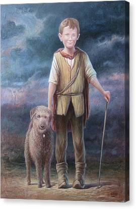Boy With Dog Canvas Print by Hans Droog