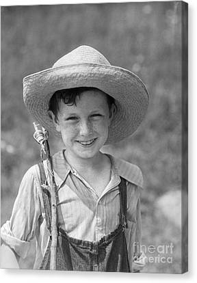 Boy With Fishing Pole, C.1930s Canvas Print by H. Armstrong Roberts/ClassicStock
