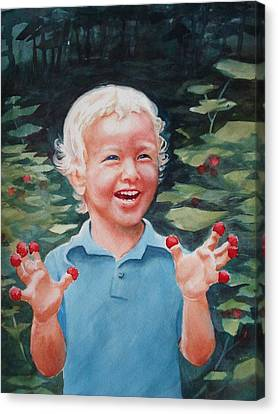 Boy With Raspberries Canvas Print by Marilyn Jacobson
