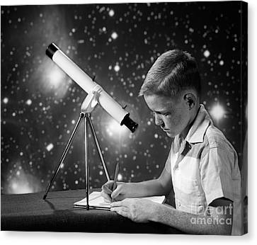 Boy With Telescope, C.1960s Canvas Print by H. Armstrong Roberts/ClassicStock