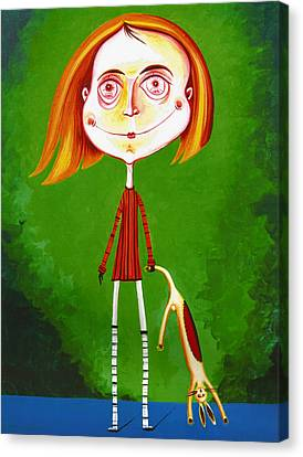 Boy With Toy Canvas Print