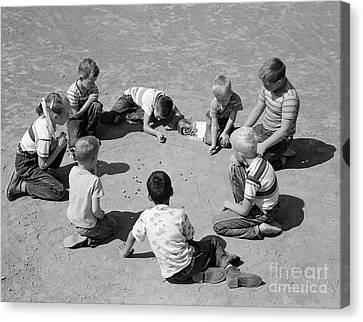Tomboy Canvas Print - Boys And One Girl Shooting Marbles by D. Corson/ClassicStock