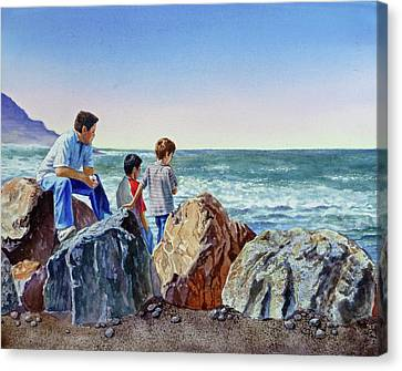 Canvas Print featuring the painting Boys And The Ocean by Irina Sztukowski