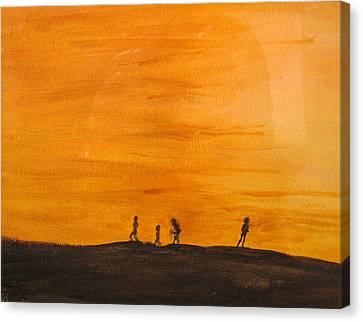 Canvas Print featuring the painting Boys At Sunset by Ian  MacDonald