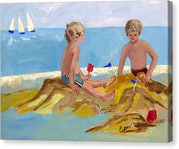 Boys At The Beach Canvas Print by Betty Pieper