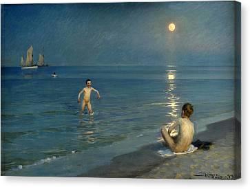 Boys Bathing At Skagen. Summer Evening Canvas Print