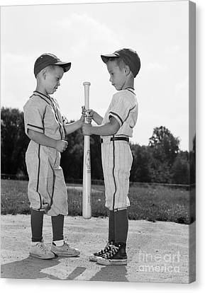 Boys Choosing Sides In Baseball Game Canvas Print by H. Armstrong Roberts/ClassicStock