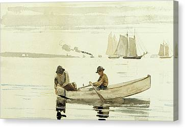 Boys Fishing, Gloucester Harbor, 1880  Canvas Print by Winslow Homer