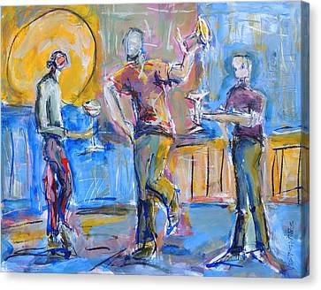 Canvas Print featuring the painting Boys Night Out by Mary Schiros