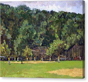 Boys Of Summer Baseball In Inwood Nyc 8x10 Original Plein Air Impressionist Fine Art Canvas Print by Thor Wickstrom