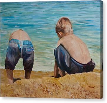 Boys On A Beach Canvas Print