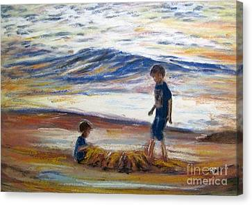 Boys Playing At The Beach Canvas Print