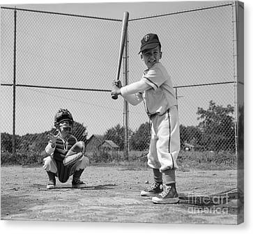 Boys Playing Baseball, C. 1960s Canvas Print by H. Armstrong Roberts/ClassicStock