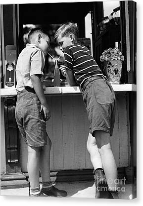 Boys Sharing A Soda With Two Straws Canvas Print