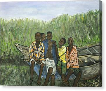 Boys Sitting On The Boat Uganda Canvas Print by Reb Frost