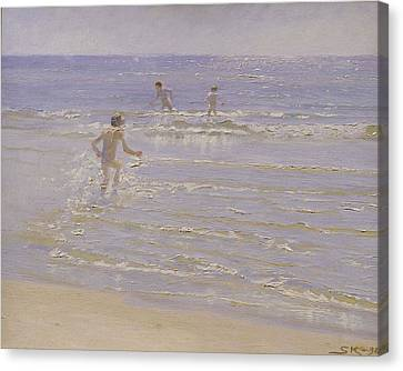 Boys Swimming Canvas Print