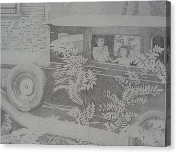 Happy's 2002 Boys With Dove In Model A Canvas Print