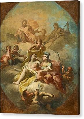Bozetto For A Portrayal Of Gods With Zeus Cronus And Athena Canvas Print by Giovanni Antonio Cucchi