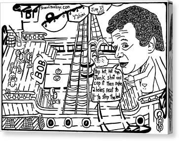 Bp Ceo Tony Hayward Fixing A Leak On His Boat. By Yonatan Frimer Canvas Print