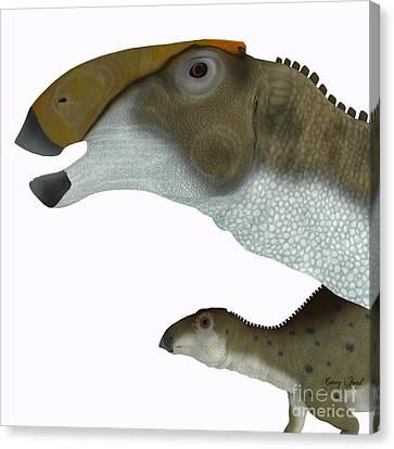 Brachylophosaurus Dinosaur Head Canvas Print by Corey Ford
