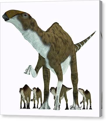 Brachylophosaurus Herbivore Dinosaur Canvas Print by Corey Ford