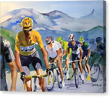 Brad Wiggins In Yellow Canvas Print by Shirley  Peters