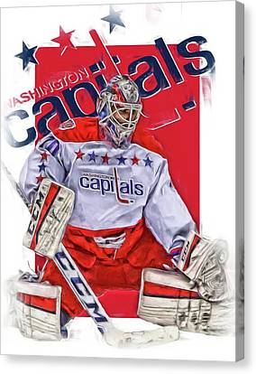 Skates Canvas Print - Braden Holtby Washington Capitals Oil Art by Joe Hamilton