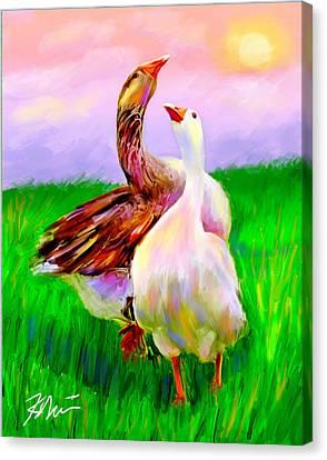 Geese Canvas Print - Brady And Autumn by Karen Derrico