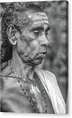 Brahmin Priest - Bw Canvas Print by Steve Harrington