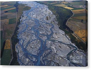 Braided River In New Zealand Canvas Print by G. R. Roberts