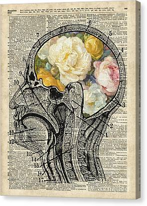 Brain Full Of Flowers Dictionary Art Canvas Print by Jacob Kuch