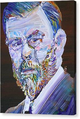 Canvas Print featuring the painting Bram Stoker - Oil Portrait by Fabrizio Cassetta