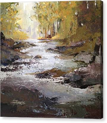 Canvas Print featuring the painting Bramble Brook by Helen Harris