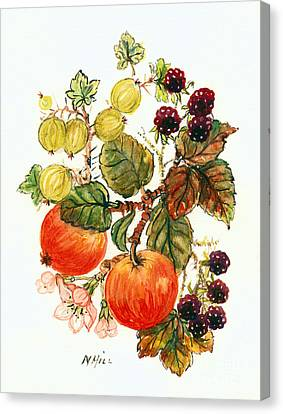 Brambles, Apples And Grapes  Canvas Print by Nell Hill