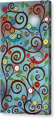Primitive Canvas Print - Branch Birds by Karla Gerard