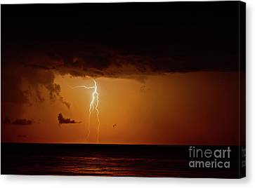 Branch Lightning Over Lake Canvas Print by Charline Xia