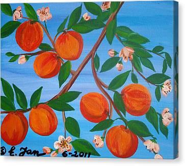 Branch Of Peaches Canvas Print by Elizabeth Janus