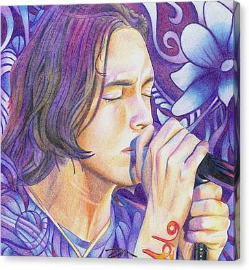 Canvas Print featuring the drawing Brandon Boyd by Joshua Morton